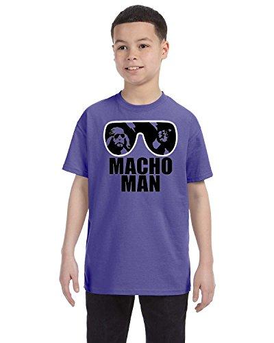 Randy Savage Halloween Costumes - Macho Man Boys Tee Shirt Randy Savage Wrestling Legend Sunglasses Easy Halloween Costume Medium Violet