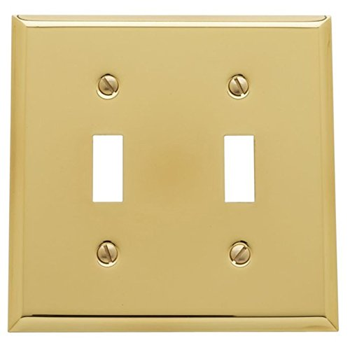 Baldwin 4761.CD Beveled Edge Solid Brass Double Toggle Switchplate, Polished Brass -
