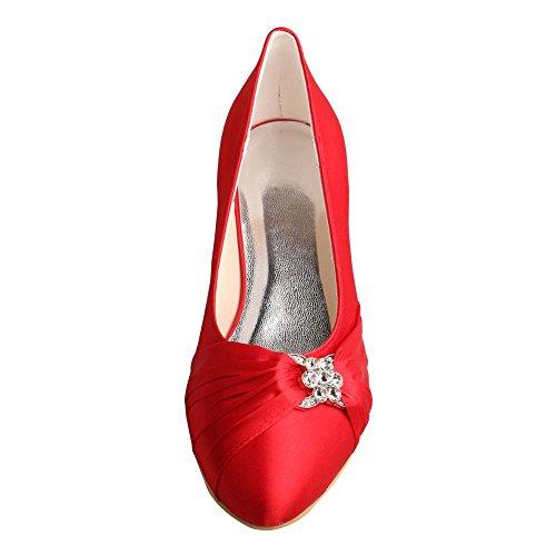 redonda de Party Evening Wedopus mujer Wedding punta Bombas bajo tacón con para Rhinestones Red MW633 Satin Shoes 6wqEv