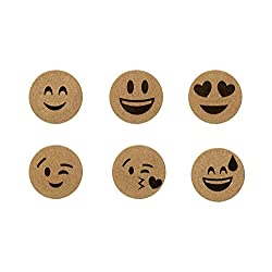 Emoji Craft Cork Coasters Party Set of 6 Round Emojies Absorbent For All Kinds Of Beer Bottle Wine Glasses Drink Can Tea Mug Coffee Cup Hot and Cold Beverage To Protect Household Surface Dining Table