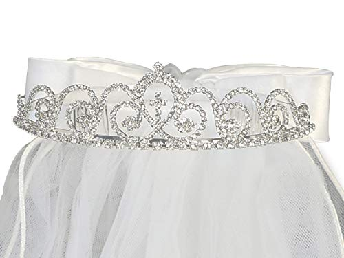 Girls First Communion Swea Pea T-425 & Lili Rhinestone Tiara w/Veil