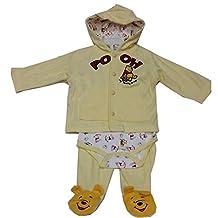 Disney Baby Girls Yellow Winnie The Pooh Onesie Hooded Top 3 Pc Pant Set 3-9M