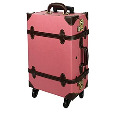 COLOCOLO by MOIERG Vintage Trolley Luggage 2tone TSA Pink Medium (81-55036-31)