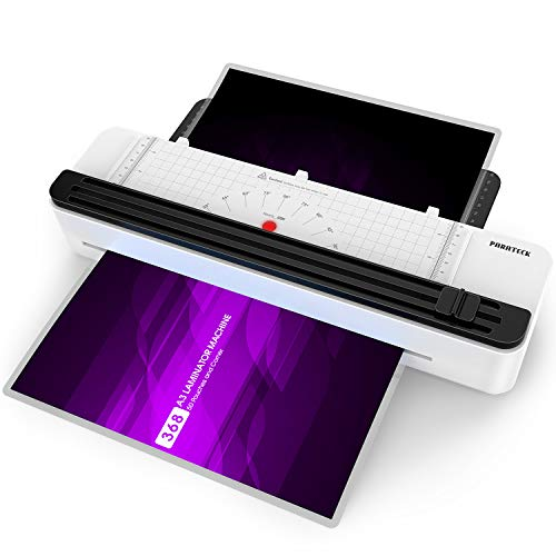 A3 Laminator Machine, Rapid 1.5 Minute Warm-up Thermal Laminating Machine with Trimmer for Home Office School Use with 50 Pouches and Corner, Support 3Mil 5 Mil, 11.7'' Max Width Laminating