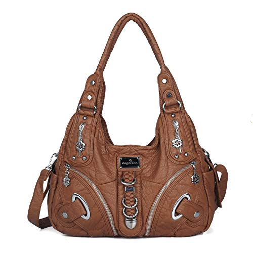 Angelkiss Women Multiple Pockets Purses and Handbags Washed Leather, Two Top Zippers Closure, Brown