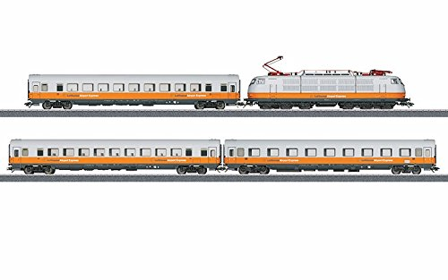 Lufthansa Airport Express Train-Only Set - 3-Rail w/Sound & Digital -- Class 103 Electric & 3 Cars (Era V 1991, white, yellow, blue) - Marklin Electric Trains