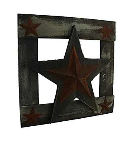 Rustic Framed Western Stars Faux Aged Wood