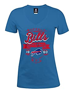 NFL Buffalo Bills Women's Baby Jersey Short Sleeve V-Neck Tee, Large, Blue