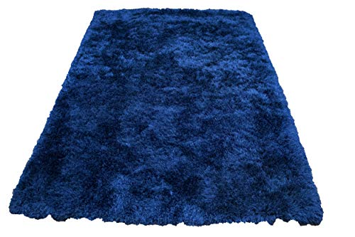 (Shag Shaggy Fluffy Fuzzy Furry Modern Contemporary Designer Decorative Solid Plush Navy Blue Dark Blue Two Tone Color 5x7 Living Room Bedroom Area Rug Carpet Sale Cheap Discount ( Romance)