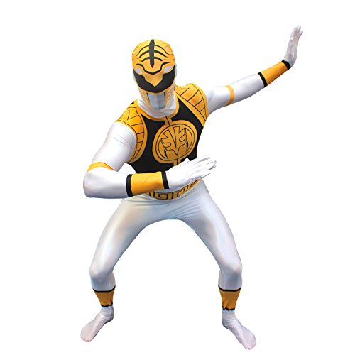 Official White Power Ranger Morphsuit Costume - size Medium - 5'-5'4 (White Power Ranger Morph Suit)