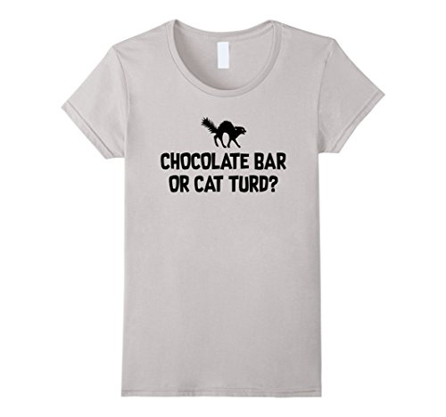 Womens Funny Halloween Black Cat Shirt, Chocolate Bar  Costume Medium Silver
