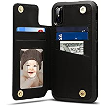 Spaysi iPhone X Card Holder Case, iPhone X Wallet Case Slim, iPhone X Folio Leather case cover Shockproof Case with Credit Card Slot, Durable Protective Case for iPhone 10 (Black)