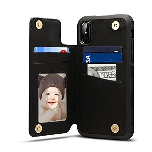 iPhone X Card Holder Case, iPhone X Wallet Case Slim, iPhone X Folio Leather case cover Shockproof Case with Credit Card Slot, Durable Protective Case for iPhone 10 (Black)