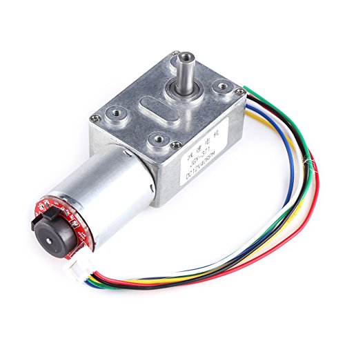 DC Worm Gear Motor 12V High Torque Reduction Gear Box with Encoder Srong Self-locking 6mm Output (Gear Reduction Torque)