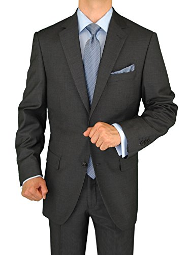 Gino Valentino 2 Piece Men's Side Vents Jacket Flat Front Pants 2 Button Charcoal Suit (46 Regular US / 56 Regular EU) Two Button Wool Suit