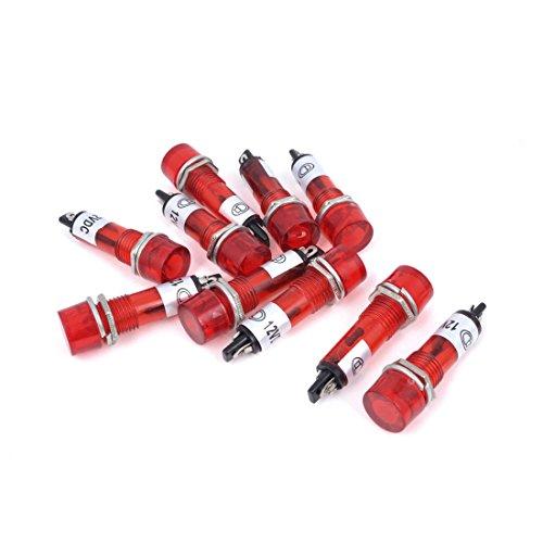 AC DC 12V Power Signal Indicator Pilot Bulb Lamp 9mm 10 Pcs Red Light - Pilot Lights Lamps