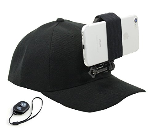 OCTO MOUNT - Baseball Hat Compatible with Smartphone/Cellphone/GoPro Camera Head Mount with Remote iOS/Android Bluetooth Shutter. Any Phone or GoPro Camera Fits, Regardless of Case. by Octo Mount