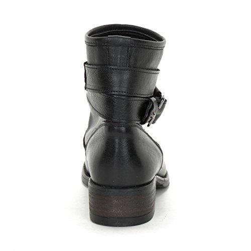 Alesya Scarpe&Scarpe - Flache Stiefeletten mit Doppeltem Riemchen, Leder - 36,0, Schwarz