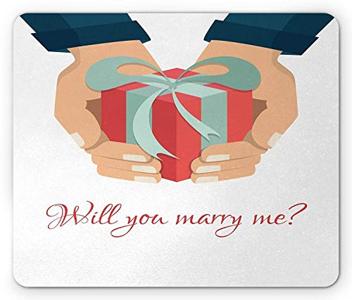 SHAQ You and Me Mouse Pad, Will You Marry Me Message with Hands Holding a Box Engagement Wedding Image, Standard Size Rectangle Non-Slip Rubber Mousepad, Multicolor