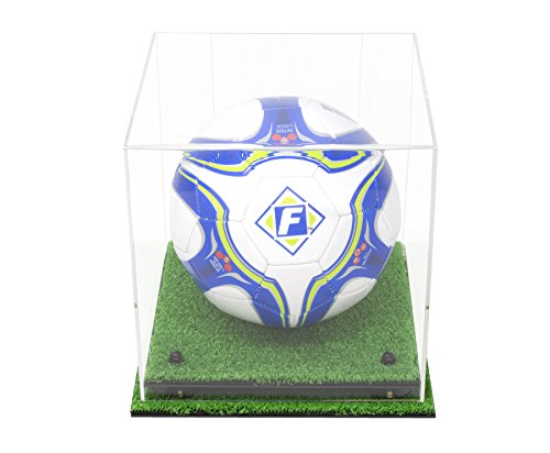 Deluxe Clear Acrylic Soccer Ball Display Case with Black Risers and Turf Base (A027-CBRTB)