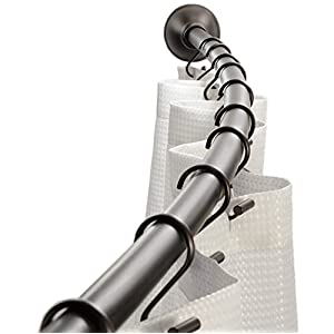 """InterDesign Wall Mounted Curved Bathroom Shower Curtain Rod – Hardware Included - Adjustable 41"""" - 72"""", Bronze"""