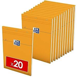 Oxford – Lote de 20 blocs de notas A4 pequeñas de 5 mm, 80 hojas grapadas, cubierta de tarjeta recubierta naranja