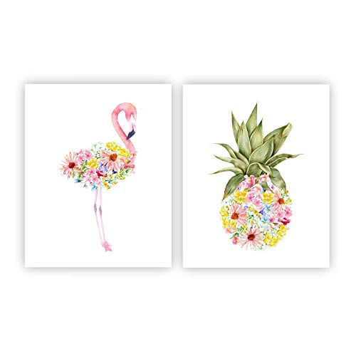 (Watercolor Flamingo and Pineapple Wall Art, Tropical Kids Bedroom Decor Set of 2 8x10 UNFRAMED)