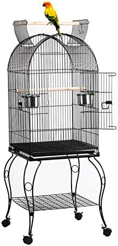 YAHEETECH 59-inch Dome Open Top Large Medium Parrot Bird Cage On Stand for Sun Parakeets Conures Quaker Parrot Rolling Cockatiel Bird Cage