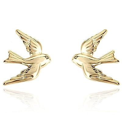 Cheap YAN & LEI Sterling Silver Vintage Swallow Birds Stud Earrings for sale