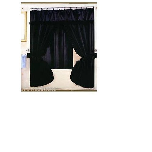 Valance Curtain Shower (DOUBLE SWAG FABRIC SHOWER CURTAIN AND VINYL SHOWER LINER - BLACK)