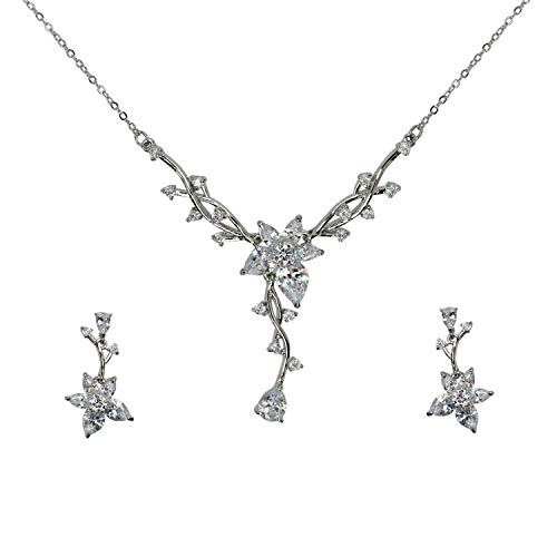 - Faship Gorgeous Clear CZ Crystal Floral Necklace Earrings Set - Clear