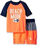 The Children's Place Big Boys' Rashguard and Swim Trunks Set, Orange Splash/Orange Splash, XS (4)