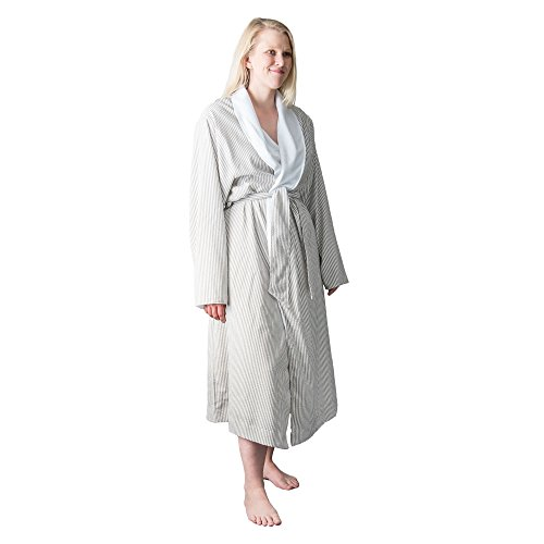 Telegraph Hill Luxury Double Layer Soft Microfiber Spa Bathrobe, Medium, Taupe Seersucker