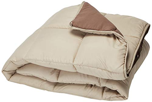 LINENSPA All-Season Reversible Down Alternative Quilted Comforter - Corner Duvet Tabs - Hypoallergenic - Plush Microfiber Fill - Box Stitched - Machine Washable - Sand / Mocha - Twin XL (Covers Couch Macys)