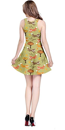 Leaves Green Running Animals Woodland Sleeveless Thanksgiving Owls Womens CowCow Fox 5XL Dress Autumn XS wqPgf7X