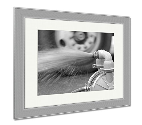 Ashley Framed Prints Water Pump, Wall Art Home Decoration, Black/White, 30x35 (frame size), Silver Frame, AG5999626 by Ashley Framed Prints