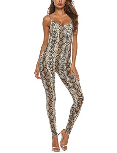 Amilia Womens Spaghetti Strap Bodycon Tank One Piece Jumpsuits Rompers Playsuit (XS, Snake Skin ()