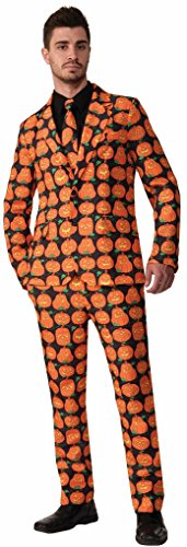 Adult Orange Pumpkin Suit & Tie - Halloween - Medium Up To 42 Inch (Adult Pumpkin Suit And Tie Costumes)