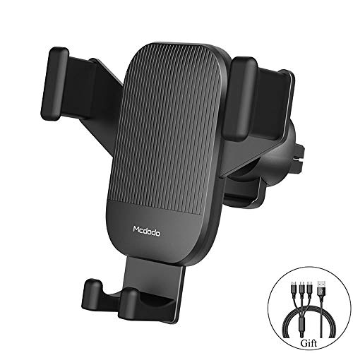 MAOBLOG Car Air Vent Holder Universal Gravity Phone Mount Automatic Locking Clamp Cradle Clip Stand for iPhone Xs/XR/X / 8/7,Samsung Galaxy S9 / S8/S7 to 4.7-6.5in Other Phones (Give a Data Line). ()