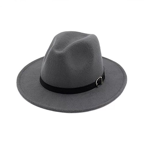 Grey Wool Hat - Lanzom Women Men Retro Style Wide Brim Panama Hat Belt Buckle Wool Fedora Hat (Light Grey, One Size)