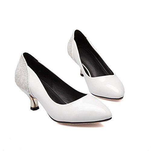 Amoonyfashion Womens Kitten Hakken Solid Pull Op Puntige Gesloten Teen Pumps-schoenen Wit