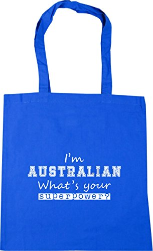 Cornflower Superpower Bag Australian I'm Shopping HippoWarehouse Tote 10 x38cm What's Beach Gym 42cm Blue litres Your R6Hqp