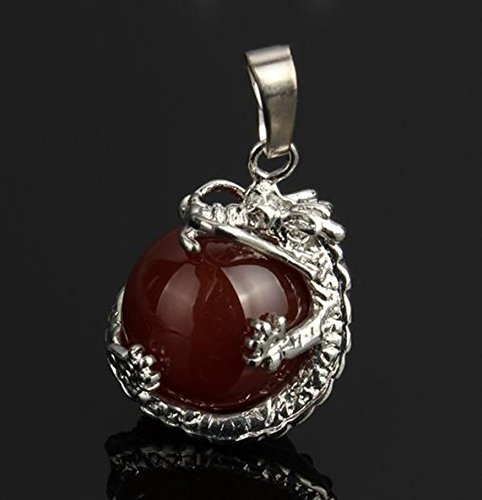 Red Carnelian Round Gem Stone Necklace Dragon Pendants Charms Craft Jewelry Making Findings ()