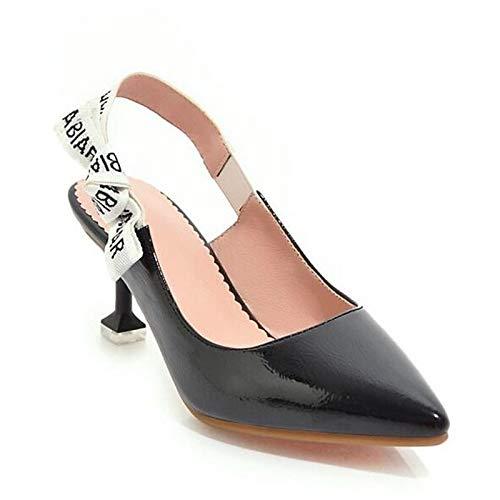 Pigskin Blanco de Negro Spring Pump Aguja Basic Black Zapatos de Tacón ZHZNVX Mujer Talones 5qfW7Pttn
