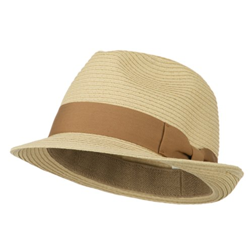 E4hats Big Size Toyo Straw Fedora with Band - Natural XL-2XL