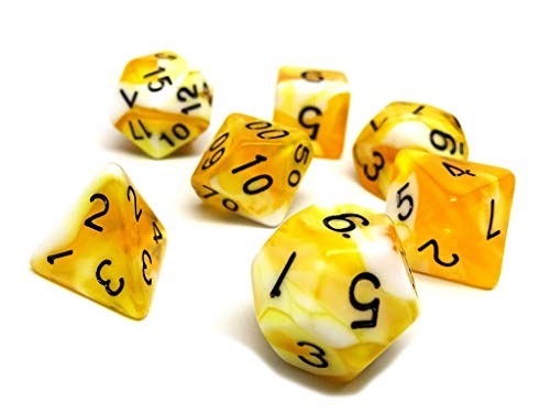 Butterscotch Swirl Dice Set 7 Piece - Free Dice Bag Included - Hand Checked ()