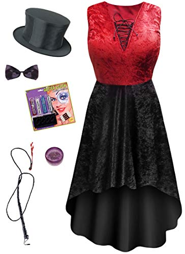 Red Ringmaster Plus Size Halloween Costume Dress Deluxe Kit XL ()