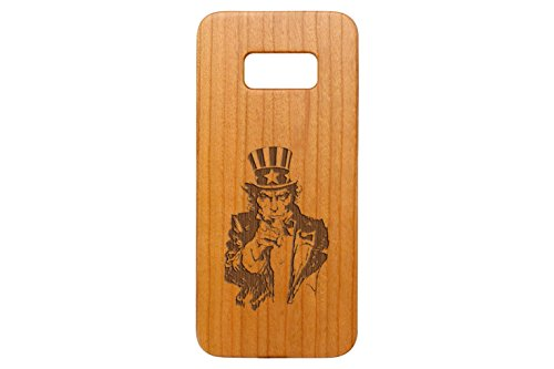 NDZ Performance for Samsung Galaxy S8 Cherrywood Wooden Phone Case Custom Engraved - Uncle Sam Inverse -