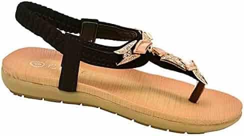 0665c8d78bc2c Lucita Little Girls Black Glitter Rhinestone Flip Flop Sandals 9-10 Toddler