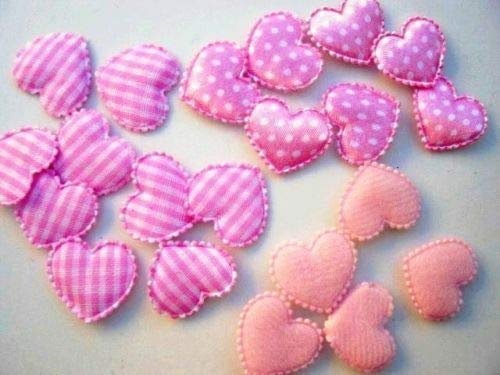 - 60 Mix Fabric Hearts Applique/Felt/Satin/Gingham//Trim/Sewing #ID-1172